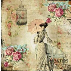 Vintage printable lady w/umbrella, roses, birdcage, paris