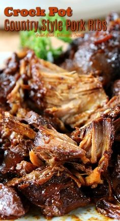 Crock Pot Country Style Pork Ribs - Great Grub, Delicious Treats - Crock Pot Country Style Pork Ribs are deliciously flavored, meaty, and fall off the fork tender. Pork Ribs Crockpot Recipes, Slow Cooker Ribs Recipe, Crock Pot Ribs, Crockpot Pork Spare Ribs, Crockpot Meals, Boneless Ribs Crockpot, Crock Pot Country Ribs, Recipe For Pork Loin Ribs, Pork Spareribs Crockpot