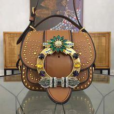 5d8af8b0858e Miu Miu Studs and Jeweled Buckle Dahlia Shoulder Bag Brown 2016     Real  Purse