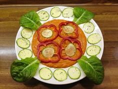 Zucchini - grids with mango - peppers - sauce | Beautiful zucchini grids with a delicious sauce of two mangoes, three dark red bell-peppers, six stalks of celery and half an avocado, paired with the wonderful last lettuce from my new green house in the garden. It was poetry in a dish! <3