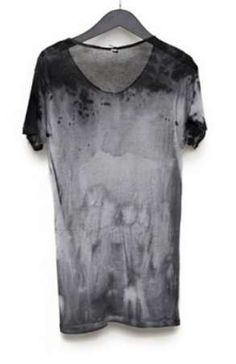 Acid wash black and grey tshirt fashion style men tumblr