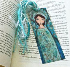 New! Just listing new bookmarks! Angel Azul   Laminated Bookmark  Handmade  Original by FlorLarios, $8.00
