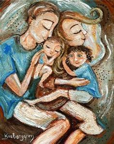 Shelter Of Family - cosleeping family of four print by Katie m. Berggren