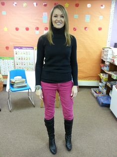 Teacher clothing blog.... she has tons of cute and professional outfits that work for teaching