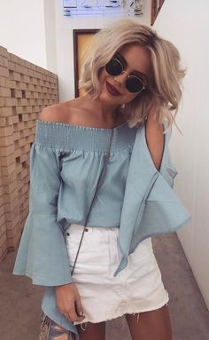 summer outfits Blue Off The Shoulder Top + White Denim Skirt