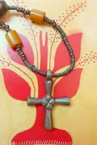 Amber and Brass Cross Necklace
