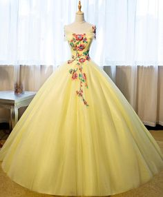 Beautiful Yellow Tulle Long Prom Dress, Sweet 16 Gowns, Yellow Formal Dresses 2019 - Beautiful Yellow Tulle Long Prom Dress, Sweet 16 Gowns, Yellow Formal Dresses 2019 Source by - Cute Prom Dresses, Sweet 16 Dresses, Sweet Dress, Ball Dresses, 15 Dresses, Elegant Dresses, Pretty Dresses, Dress Outfits, Ball Gowns