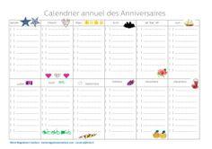 Calendrier annuel des anniversaires, offert en téléchargement gratuit sur le blog Marie-Maguelone Créations, ou en vente sur la boutique pour celles qui n'ont pas d'imprimante.