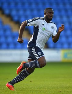 West Brom player Victor Anichebe in action during a pre season friendly between Shrewsbury Town and West Bromwich Albion at Greenhous Meadow on July 15, 2014
