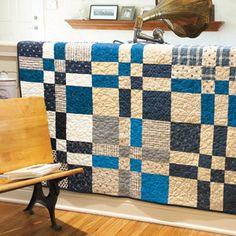 Indigo Weave: Striking Modern Yet Traditional Lap Quilt Pattern  Designed by DEBBIE OUTLAW Machine Quilted by DIANE ALBRECHT, patterned in America Makes Fast Quilts, Spring 2013.