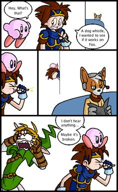 Legend of Zelda twilight princess and Kirby and star fox and don't know the other character sorry