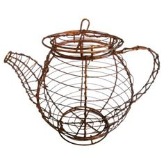 Check out this item at One Kings Lane! Copper & Wire Teapot Egg Basket