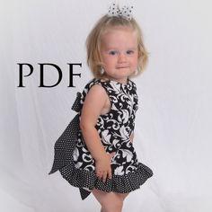 Pinafore Pattern Baby Dress - Easy Ruffle Dress/Top Sewing Pattern, PDF tutorial, Baby to Toddler