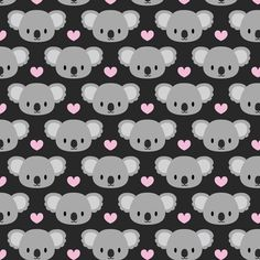 Cute koalas and pink hearts fabric by petitspixels on Spoonflower - custom fabric