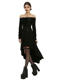 Royal Bones By Tripp Floral Velvet Hi-Lo Dress, BLACK