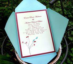 Winter Wedding Invitation- Birds 'n' Berries- Tiffany-ish blue and Red. $3.95, via Etsy.