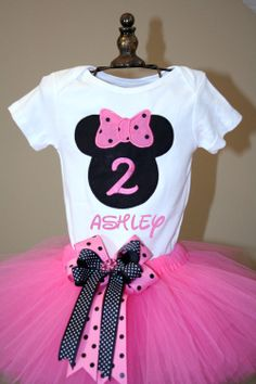 Minnie Mouse Inspired Birthday Onesie and Tutu by SewYouBoutique, $35.00