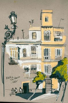 Plaza de San Francisco en Cádiz is part of Architecture sketch encadiz - Sketch Painting, Drawing Sketches, Cool Drawings, Watercolor Sketch, Sketchbook Inspiration, Art Sketchbook, Building Illustration, Illustration Art, Architecture Drawing Sketchbooks