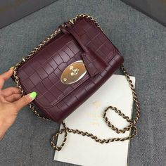 2016 S/S Mulberry Lily Crossbody Bag in Oxblood Deep Embossed Croc Print Leather