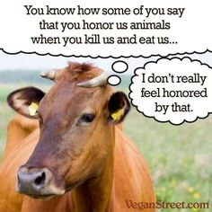 "Yeah, what does the cow think of your ""humane slaughter""?"