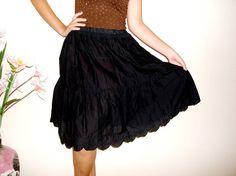 Black Layered Skirt Ruffle skirt extender refashioned