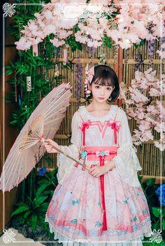 Doris Night -Cherry Blossom in Bunny's Garden- Kimono Style Wa Lolita Jumper Dress - Round 2 Preorder Harajuku Fashion, Kawaii Fashion, Lolita Fashion, Cute Fashion, Lolita Cosplay, Cosplay Costume, Oriental Dress, Oriental Fashion, Mode Lolita