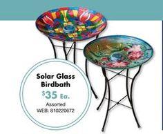 Solar Glass Birdbath from Big Lots $35.00 @trishalynn18 this is more me