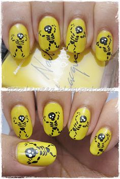Yellow Skeletons by geez... (this is the best Halloween manicure I've seen so far!)