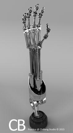Robotic Terminator Arm T-800 Maya 3D model - Textured mid shot.