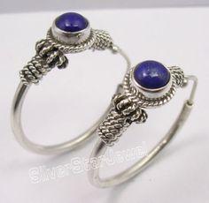 925 Sterling Silver Natural Lapis Lazuli Handmade Hoop Earrings 3 1cm India | eBay