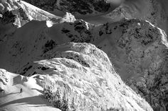 High on Mount Shuksan, you can see the lower Shuksan Pyramid, Hells Highway and a skier breaking track upward. Big Mountain, Ski Touring, North Cascades, Washington State, Adventure Travel, Mount Everest, Mount Rushmore, Skiing, Things To Do