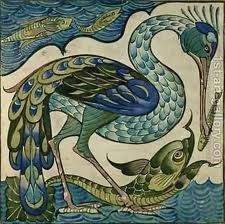 Heron and Fish tile, in blues and greens, design by Walter Crane.