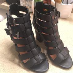 Black gladiator heels 3 adjustable straps. Slightly loved. Still in very good condition. Shoes Heels