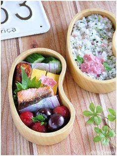 【娘弁当】鮭の塩麹焼き&唐揚げ弁当 の画像 曲げわっぱのあひる弁当