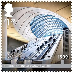 150th anniversary of the London Underground - Issued Jan 2013. Jubilee Line at Canary Wharf 1999. Designed by Sir Norman Foster, Canary Wharf Station is one of the most recent additions to the Underground network.