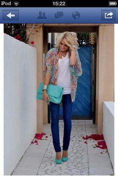 Cute for summer! #cute #summer #mint #green #blue #clutch #heels #jeans #floral #top #shawl #blonde #pretty