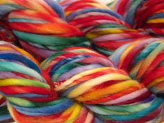 handspun yarn Random Rainbow thick and thin bulky singles yarn, 60 yards, hand dyed merino wool top by SpinningWheelStudio on @Etsy