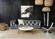 The MISSONIHOME Inntil sofa and Nama Natural rattan pendants by AY ILLUMINATE with the Travertine coffee table by TEN10