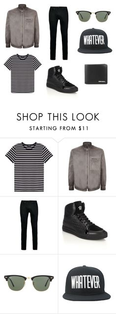 """""""WHAT HE WOULD WEAR Series"""" by nblhhrs ❤ liked on Polyvore featuring A.P.C., Lot78, Topman, Versace, Ray-Ban, Diesel, mens, men, men's wear and mens wear"""