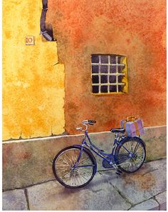 Bicycle Art Watercolor Painting Print Old by WatercolorByMuren