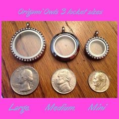 How Big are the Origami Owl Large, Medium, Mini Living Locket Size Comparisons? Quarter, Nickle, Dime!  www.owllockets.com