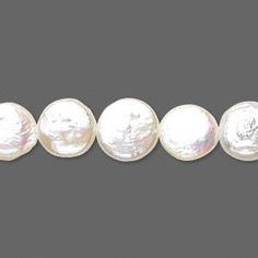 Pearl, cultured freshwater (bleached), white, 10-12mm flat round, D grade, Mohs hardness 2-1/2 to 4. Sold per 16-inch strand.