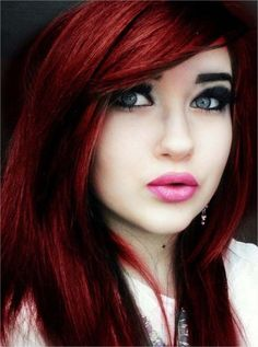 Unique Emo Dark Red Hair Color 2015 Trends with heavy bangs and Layers I love the color