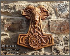 Thor Hammer Vikings Odin Norse Art Wood Picture Pagan Carving Heathen Asatru Celtic Norse Rune Wall Hanging Ragnar Wood Carving Knotwork