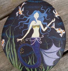 FAE18 A mermaid swims with her koi companions. Would look wonderful in a water garden. Titled and numbered on back. Large stone, measures 5 1/2 x 7