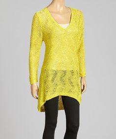 Look what I found on #zulily! Mustard Open-Knit Linen-Blend Hi-Low V-Neck Tunic #zulilyfinds