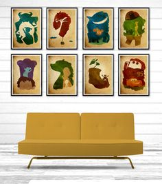 Pick Any Six Walt Disney Pixar Minimalist Poster Set \ Cars, Toy Story, Monsters Inc., Up, Wall-E, Finding Nemo, Brave, Ratatouille