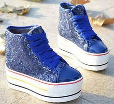 Womens School Sequins Canvas High Heel Platform Lace-Up Sneakers Causal Shoes L9
