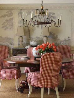 LOVE these red gingham slipcovers! | The French Tangerine ᘡղbᘠ Consider for the kitchen set.