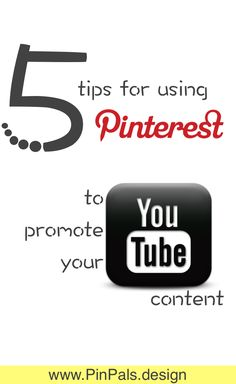 How to use #Pinterest to promote your YouTube Video & channel! Creative ways to reach potential viewers & subscribers on Pinterest. http://www.pinpals.design/blog/files/5-ways-to-use-Pinterest-to-promote-your-YouTube-Channel.html